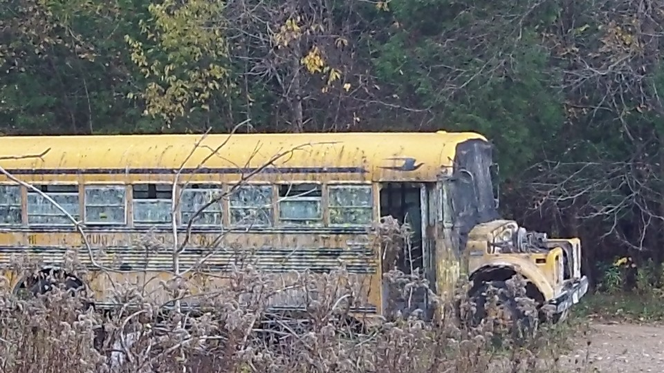 Bus at bottom of hill